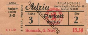 Deutschland - Berlin - Adria Filmbühne Steglitz Schloßstr. 48 - Kino Eintrittskarte 1955