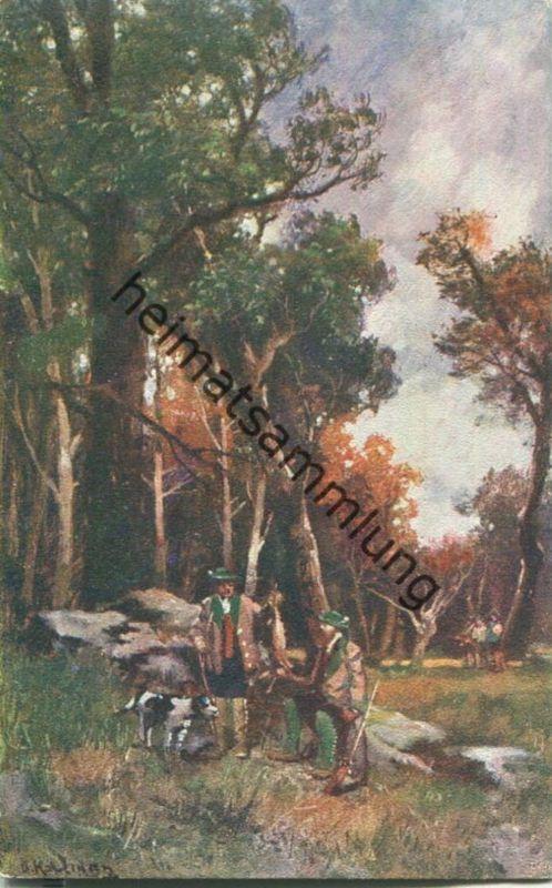 Jagd - Jäger - Hase - signiert B. Kaufmann - Künstleransichtskarte ca. 1900 - coloriert