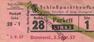 Deutschland - Berlin - Städtisches Schloßparktheater - Schloßstr. 48 (Eingang Wrangelstr.) - Eintrittskarte 1957 - besch
