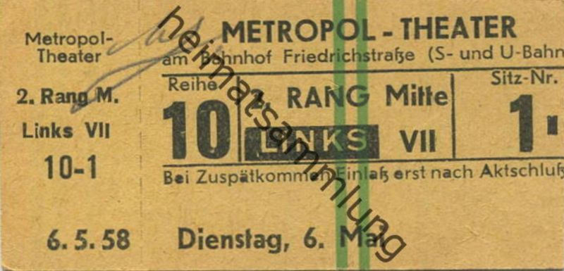 Deutschland - Berlin - Metropol-Theater am Bahnhof Friedrichstrasse - Eintrittskarte 1958
