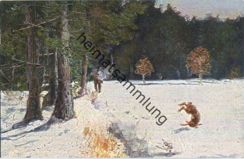 Jagd - Jäger - Hase - Künstleransichtskarte ca. 1900 - coloriert