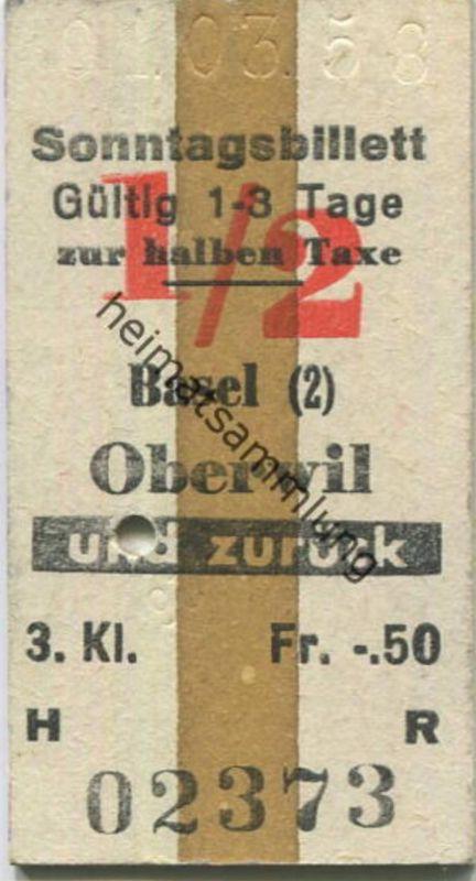 Schweiz - Sonntagsbillett - Gültig 1-3 Tage zur halben Taxe - Basel Oberwil und zurück - Fahrkarte 3. Kl. 1958