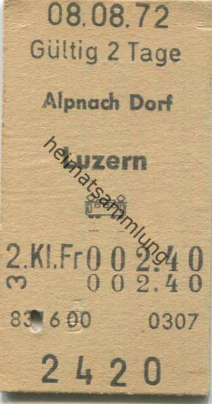 Schweiz - Alpnach Dorf Luzern - Fahrkarte 2. Kl. 1972