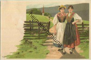 Alfred Mailick - zwei Frauen in Tracht - Künstleransichtskarte ca. 1900