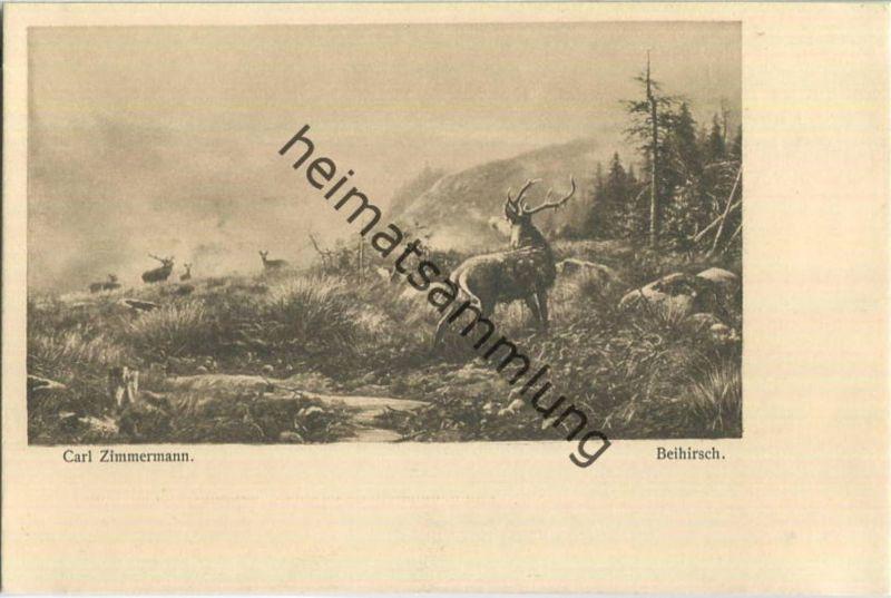 Jagd - Carl Zimmermann - Beihirsch - Künstleransichtskarte ca. 1900