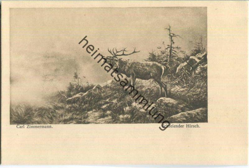 Jagd - Carl Zimmermann - Schreiender Hirsch - Künstleransichtskarte ca. 1900