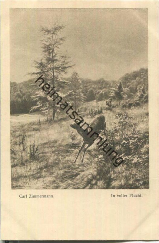 Jagd - Carl Zimmermann - In voller Flucht - Künstleransichtskarte ca. 1900