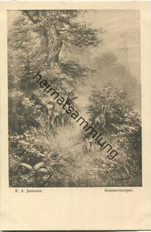 Jagd - R. A. Jaumann - Sommermorgen - Künstleransichtskarte ca. 1900