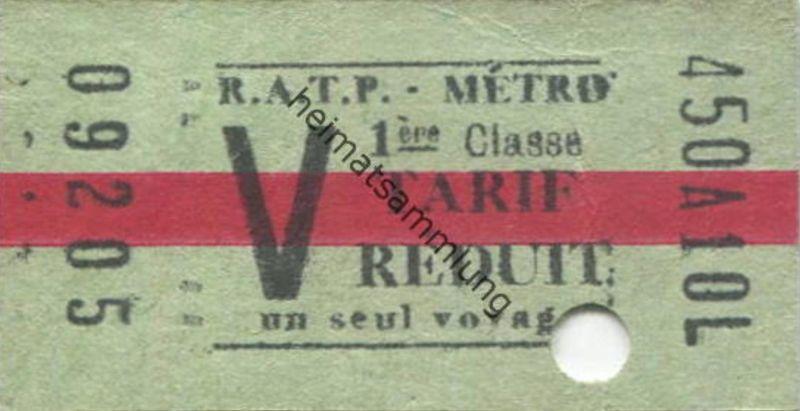 Frankreich - Paris - RATP Metro - V 1ère Classe - Fahrkarte