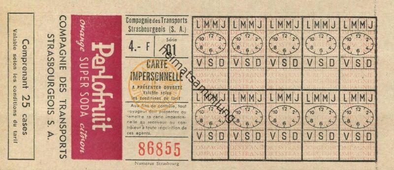 Frankreich - Frankreich - Straßburg - Companie des Transports Strasbourgeois S.A. - Fahrkarte 4.- F