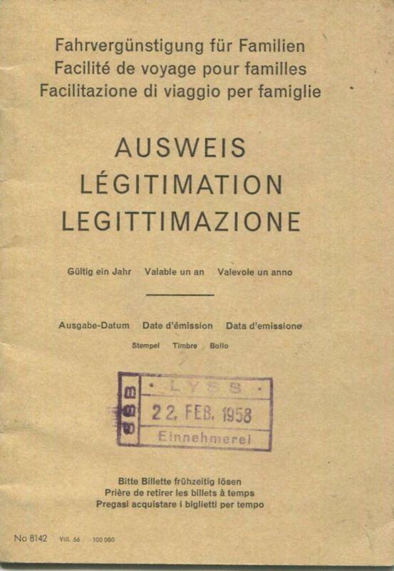 Schweiz - Fahrvergünstigung für Familien - Ausweis Gültig für ein Jahr 1958
