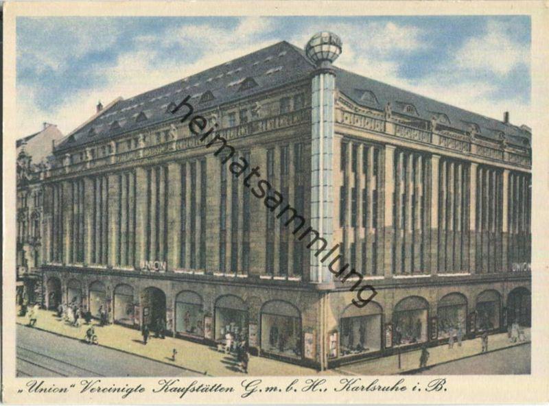 Karlsruhe - Union - Vereinigte Kaufstätten GmbH - Ansichtskarte Grossformat 40er Jahre