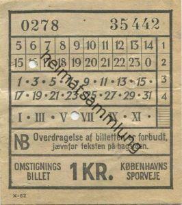 Dänemark - Kobenhavns Sporveje - Omstignings Billet - Fahrschein 1 KR