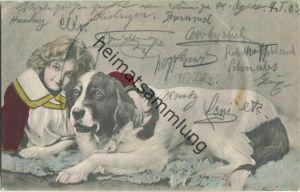 Bernhardiner mit Mädchen - Künstler-Ansichtskarte