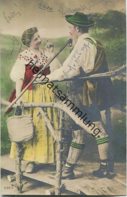 Jäger - junge Frau - Künstler-Ansichtskarte