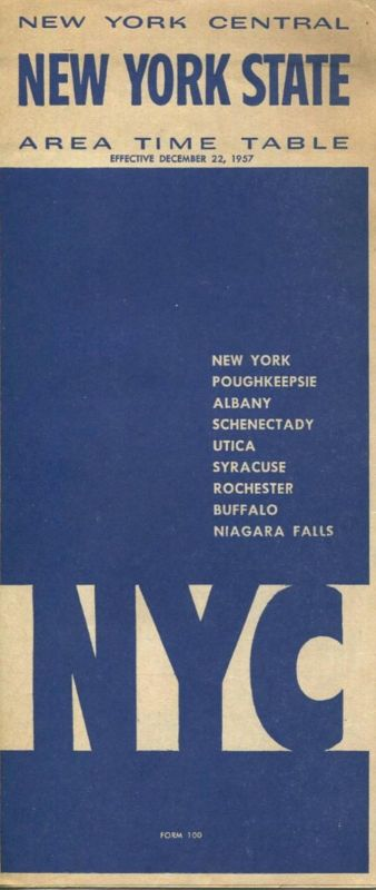 New York State - New York Central - Area Time Table - Faltblatt 1957