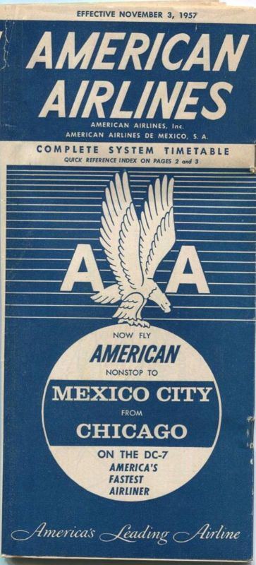 American Airlines - American Airlines de Mexico - Complete System Timetable - 48 Seiten 1957