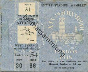 Grossbritannien - XIVth Olympiad London 1948 - Ticket July 31. 1948 Athletics - Eintrittskarte Olympische Spiele 1948 Lo