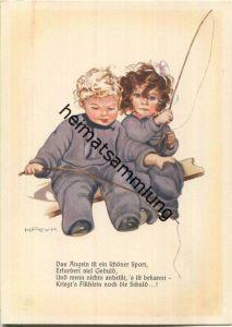 Mädchen und Junge beim Angeln - Künstler-Ansichtskarte Hilla Peyk