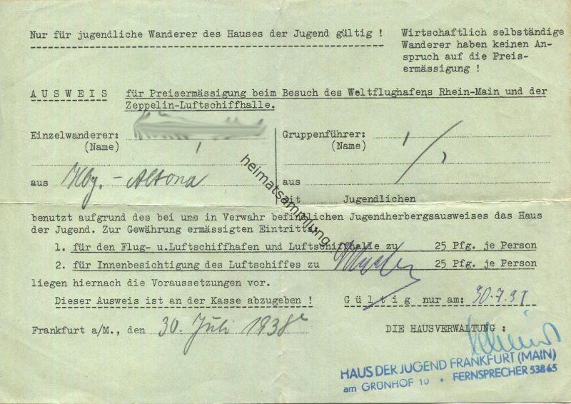 Deutschland - Frankfurt am Main - Ausweis für Preisermässigung beim Besuch des Weltflughafens Rhein-Main und der Zeppeli