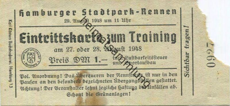Deutschland - Hamburg - Hamburger Stadtpark-Rennen 1948 - Eintrittskarte zum Training