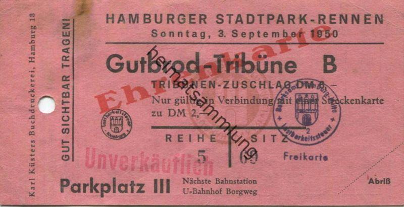 Deutschland - Hamburg - Hamburger Stadtpark-Rennen 1950 - Gutbrod-Tribüne Ehrenkarte