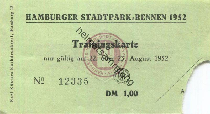 Deutschland - Hamburg - Hamburger Stadtpark-Rennen 1952 - Trainingskarte