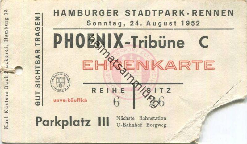 Deutschland - Hamburg - Hamburger Stadtpark-Rennen 1952 - Phoenix-Tribüne Ehrenkarte 0