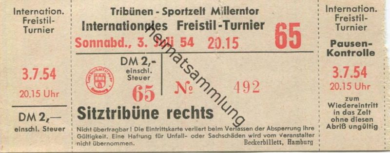 Deutschland - Hamburg Tribünen Sportzelt Millerntor - Internationales Freistil-Turnier - Eintrittskarte 1954 0