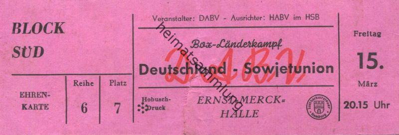 Deutschland - Hamburg Ernst-Merck-Halle Box-Länderkampf Deutschland Sowjetunion - Veranstalter DABV Ausrichter HABV im H