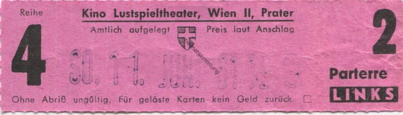 Österreich - Wien - Kino Lustspieltheater Wien II Prater - Kinokarte 1961