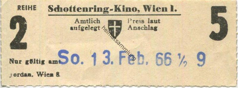 Österreich - Wien - Schottenring Kino Wien I - Kinokarte 1966