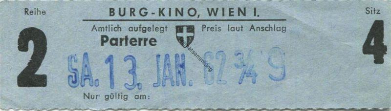 Österreich - Wien - Burg Kino Wien I - Kinokarte 1962
