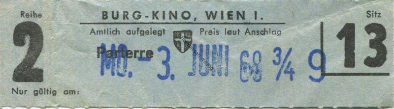 Österreich - Wien - Burg Kino Wien I - Kinokarte 1968 0
