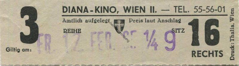 Österreich - Wien - Diana Kino Wien II - Kinokarte 1965 0
