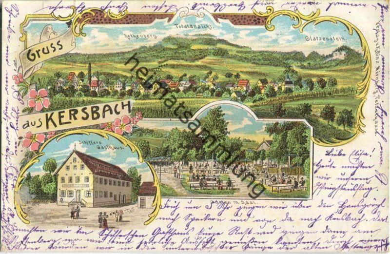 Kersbach (Neunkirchen am Sand) - Schiffers Gasthaus - Garten mit Saal - Lithographie 0