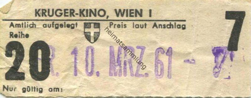 Österreich - Wien - Kruger Kino Wien I - Kinokarte 1961