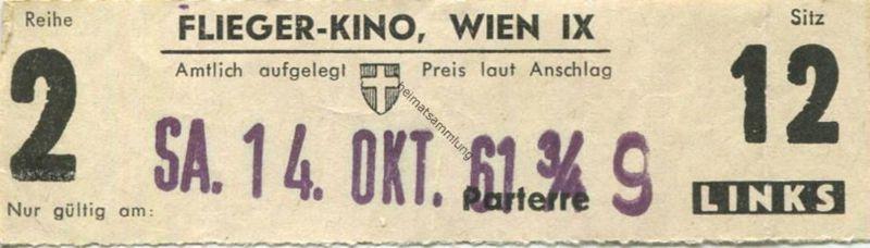 Österreich - Wien - Flieger-Kino Wien IX - Kinokarte 1961