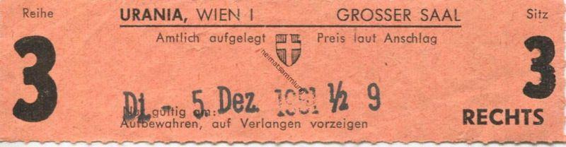 Österreich - Wien - Urania Kino Wien I Grosser Saal - Kinokarte 1961