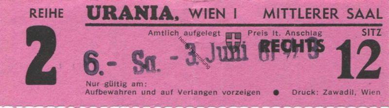 Österreich - Wien - Urania Kino Wien I Mittlerer Saal - Kinokarte 1961