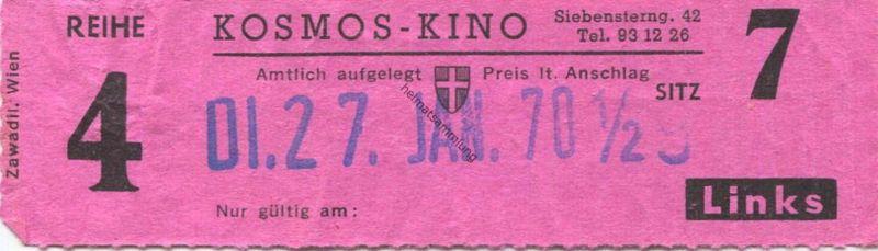 Österreich - Wien - Kosmos Kino Wien VII Siebensterngasse 42 - Kinokarte 1970