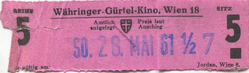 Österreich - Wien - Währinger Gürtel Kino Wien 18 - Kinokarte 1961