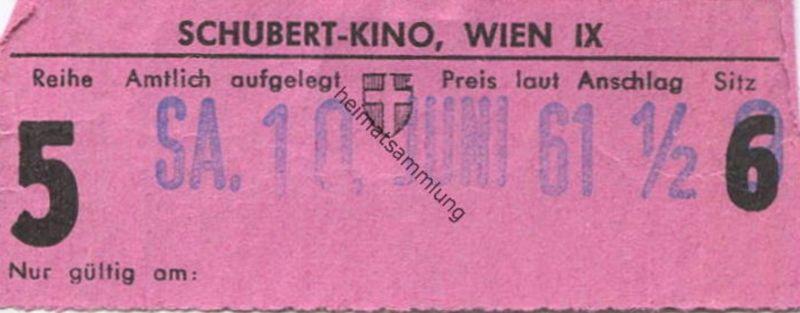 Österreich - Wien - Schubert-Kino Wien IX - Kinokarte 1961