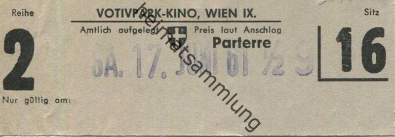 Österreich - Wien - Votivpark-Kino Wien IX - Kinokarte 1961