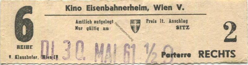 Österreich - Wien - Kino Eisenbahnerheim Wien V - Kinokarte 1961