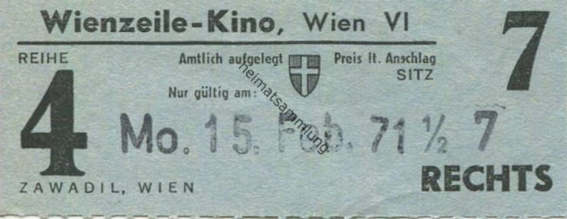 Österreich - Wien Wienzeile-Kino Wien VI - Kinokarte 1971
