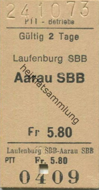 Schweiz - PTT-Betriebe - Laufenburg SBB Aarau SBB - Fahrkarte 1973
