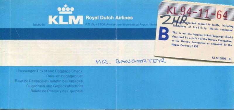 KLM Royal Dutch Airlines 1978 - Rio de Janeiro Amsterdam Zürich