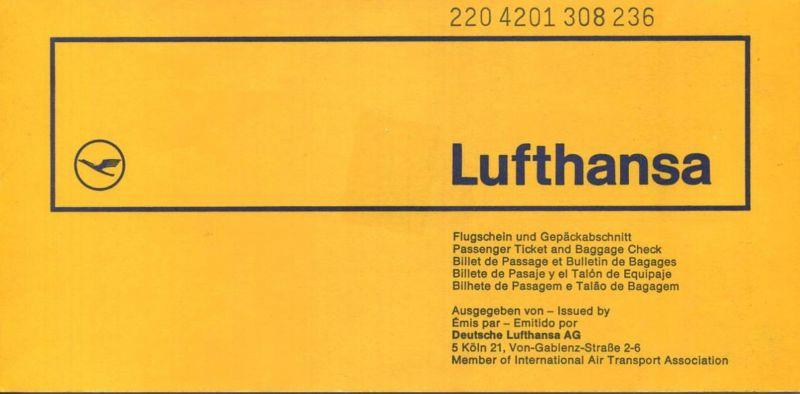Lufthansa 1973 - Zürich Hannover Zürich
