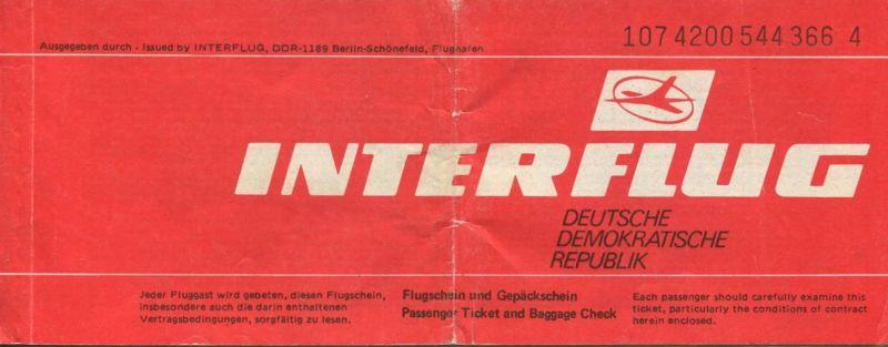Interflug 1989 - Berlin Sofia Berlin 0